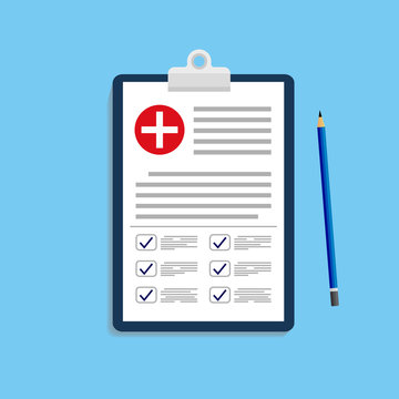 Clinical record, prescription, medical checkup report, health insurance concepts. Clipboard with checklist and medical cross pen in mockup style for website or mobile apps design. eps10