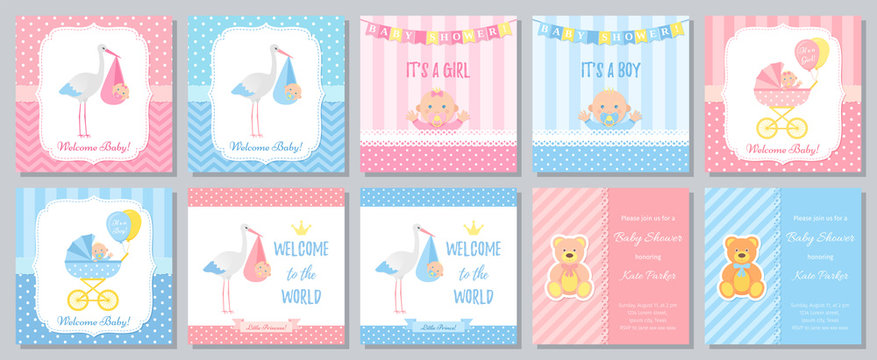 Baby Shower card. Vector. Baby boy blue invitation. Pink girl design. Welcome invite template banner. Birth party background. Set greeting posters with newborn kid, stork, pram. Cartoon illustration
