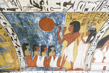 Scene from a Tomb in Deir el-Medina Village, Luxor, Egypt
