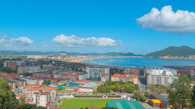 Aerial view of beautiful city of Laredo, Cantabria, Spain