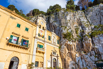 Sanctuary of Santa Rosalia (Italian: Santuario di Santa Rosalia) in Palermo, Sicily, Italy. Located inside a ravine of rock, almost on the top of Mount Pellegrino