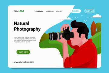 natural photography landing page background vector