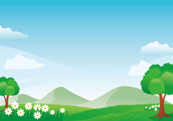 Beautiful mountain scenery with flowers, grass, meadow and blue sky Wall mural
