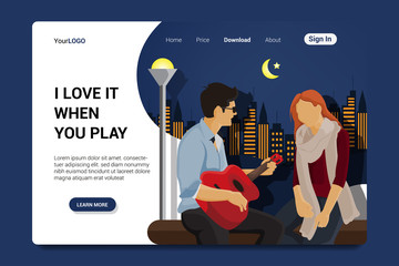 playing music landing page background vetor