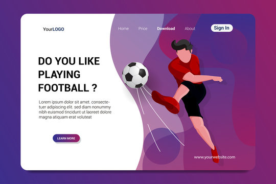 playing football landing page background vector