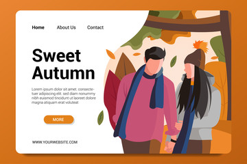 sweet autumn landing page background vector