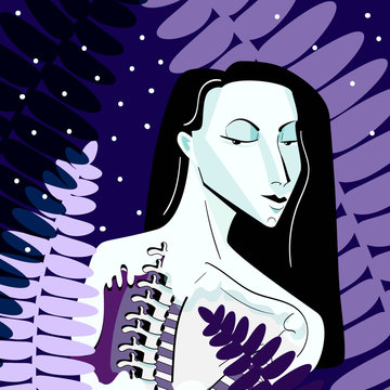 digital fantastic illustration of mavka - Ukrainian mythological character, a dead young woman. Decorated with fern leaves.