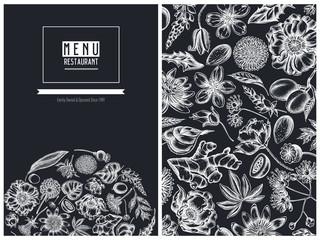 Menu cover floral design with chalk almond, dandelion, ginger, poppy flower, passion flower, tilia cordata