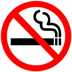 Poster Smoke No smoking sign on white background