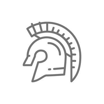 Gladiator warrior helmet, spartan line icon.