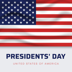 Presidents Day in USA. White greeting poster with American flag.