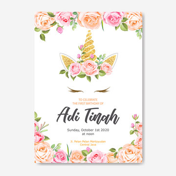 beautiful unicorn card template with floral wreath and gold glitter
