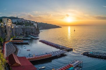 Wall Mural - Landscape with Sorrento at sunset time, amalfi coast, Italy