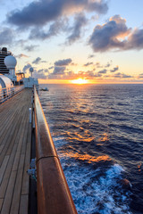 Sunset aboard a cruise ship, South Pacific