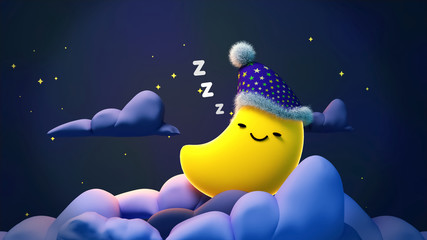 Cute sleeping moon with zzz at night. Concept of sweet lullaby theme. 3d rendering picture.