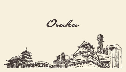 Wall Mural - Osaka skyline Japan hand drawn city vector sketch