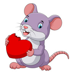 Cute mouse eating red heart