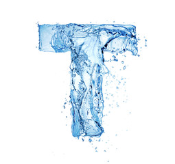 letter T made of water splash isolated on white background