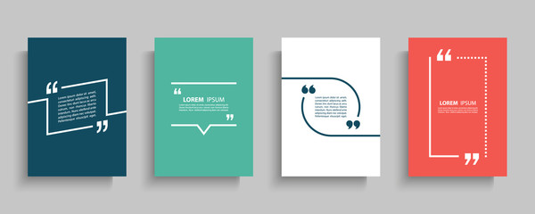 Quote frames blank templates set. Text in brackets, citation empty speech bubbles, quote bubbles. Textbox isolated on color background. Vector illustration. Fototapete