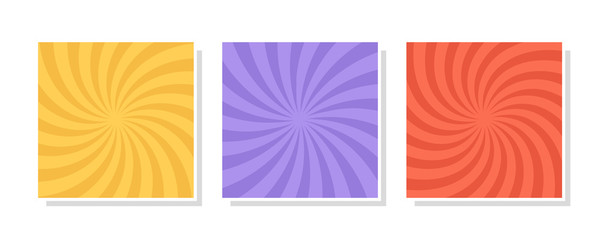 Obraz Set of swirl, vortex backgrounds. Color rotating spiral. Vector illustration. - fototapety do salonu
