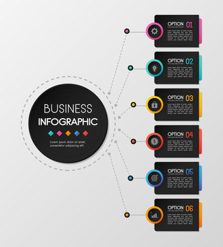 Circle infograph design with 6 steps. Vector