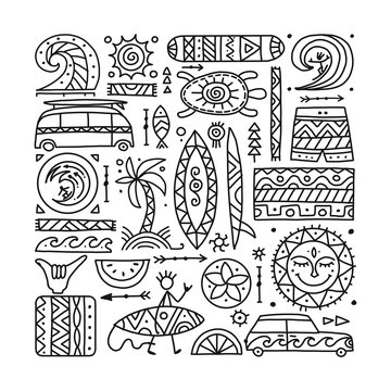 Surfing background. Tribal elements for your design