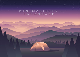 Minimalistic vector landscape background of mountains for your design.
