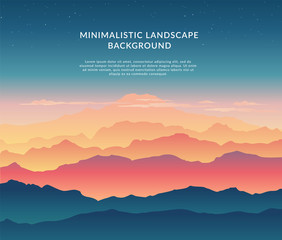 Wall Murals Green blue Minimalistic vector landscape background of mountains for your design.