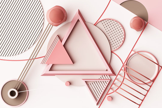 Design with composition of geometric memphis style shapes in pastel pink tone. 3d rendering illustration