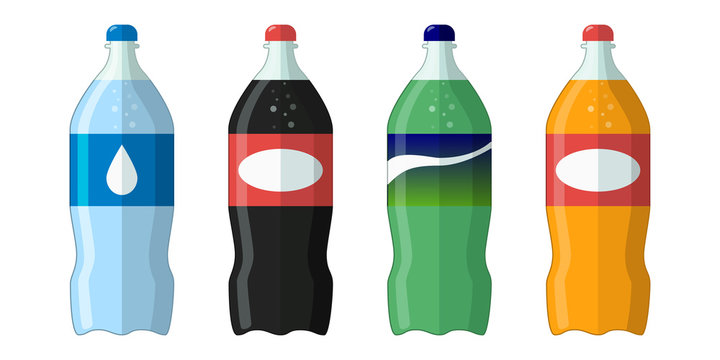 Flat icon. Bottle with soda and water. Vector illustration.
