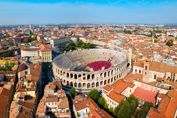 Verona Arena aerial panoramic view