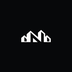Logo design of Nin vector for construction, home, real estate, building, property. Minimal awesome trendy professional logo design template on black background.
