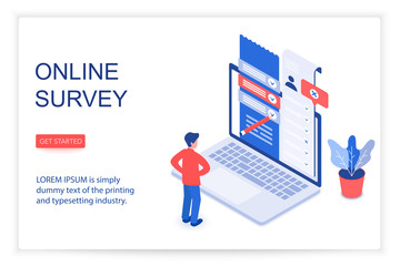 Online survey isometric landing page vector template