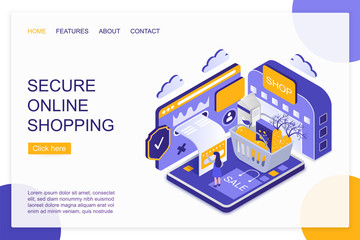 Secure online shopping isometric landing page vector template