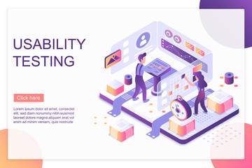 Usability testing isometric landing page vector template
