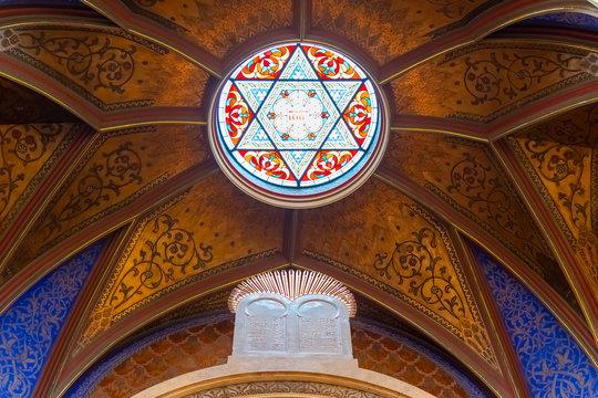 Prague, Czech Republic, 20 June 2019 - View from the interior of Jerusalem Jubilee Synagogue in Prague, Czech Republic
