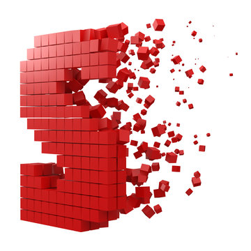 letter S shaped data block. version with red cubes. 3d pixel style vector illustration.
