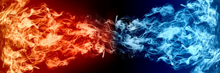 Abstract Fire and Ice element against (vs) each other background. Heat and Cold concept