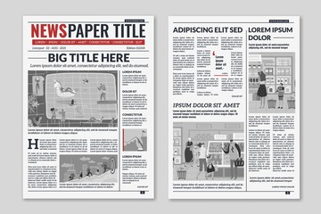 Newspaper layout. News column articles newsprint magazine design. Brochure newspaper sheets. Editorial journal vector template
