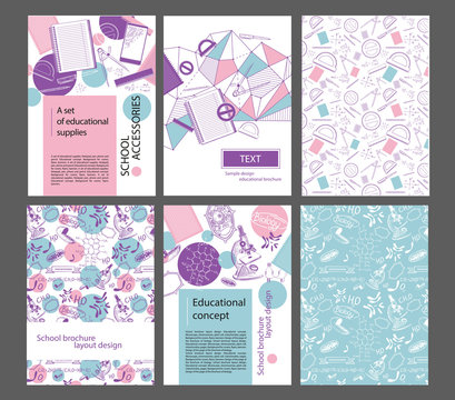 Design layout of the school brochure. Pages, protractor, pen, trigonometric functions microscopes, mitochondria. Set of school banners.