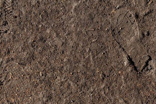 wet ground texture with shoe marks