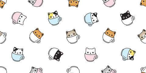 Fototapeta cat seamless pattern vector kitten coffee cup calico breed scarf isolated cartoon repeat background tile wallpaper illustration pastel design obraz