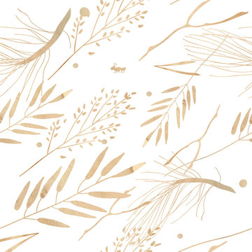 Watercolor illustration, pattern. Forest motif. Branches and leaves on a white background.