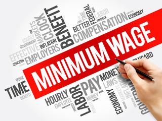 Minimum Wage word cloud collage