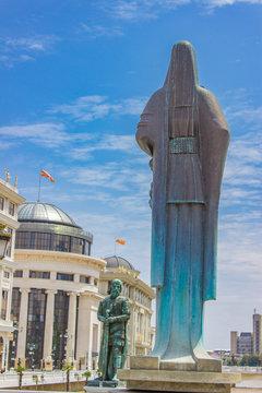 Mother Teresa monument in Skopje, Northern Macedonia
