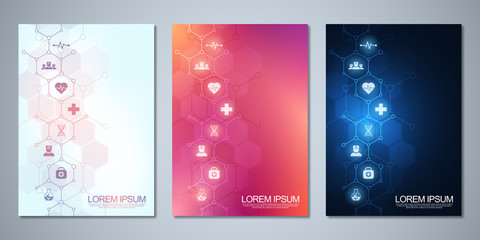 Obraz Template brochure or cover design, book, flyer, with medical icons and symbols. Healthcare, science and medicine technology concept. - fototapety do salonu