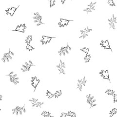 Seamless pattern of autumn leaves isolated on white background. Abstract print with leaves. Elegant beautiful seamless ornament for fabric, wrapping and textile. Outline