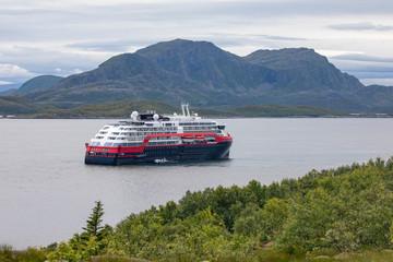 Ship in norwegian fjord