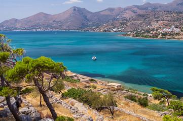 Spinalonga island in Elounda bay of Crete island in Greece