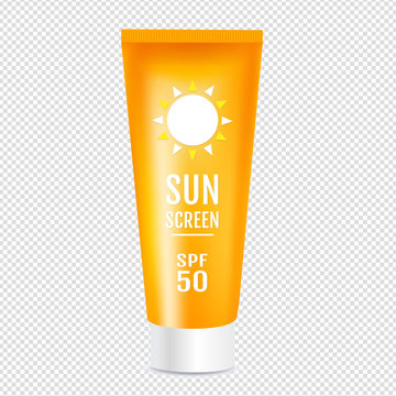 Sun Protection Cosmetic Cream Template Isolated Transparent background